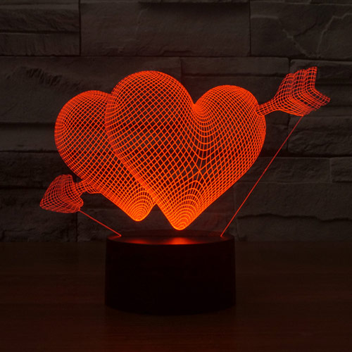Love Heart Arrow 3D Led Lamp