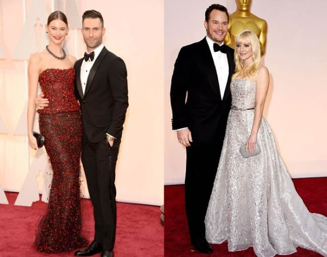 Behati Prinsloo and Adam Levine also matched with both wearing Armani Privè. We love the netting feature that adds another dimension to her dress. Also in attendee were funny couple of the moment Chris Pratt and Anna Faris. He was swoon worthy and suave in Tom Ford while Anna looked delightful in Zuhair Murad.