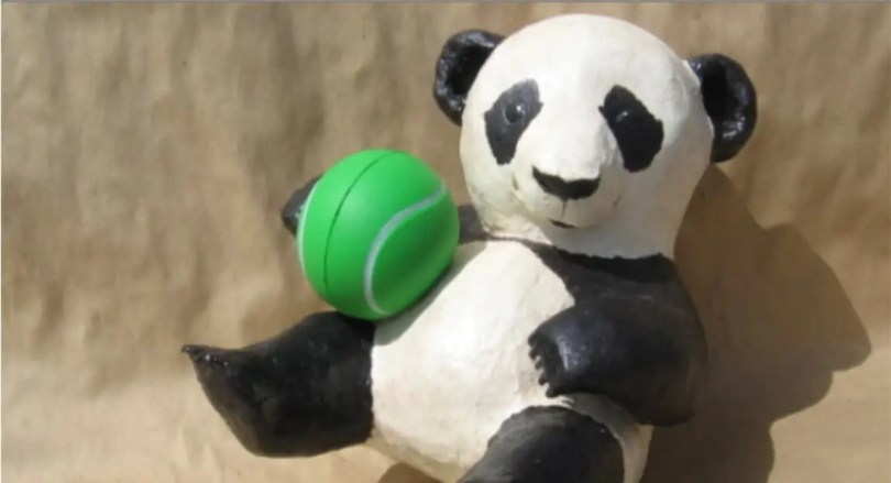 Pattern for a paper mache panda