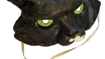 Paper Mache Cat Half-Mask