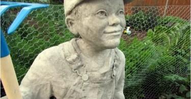 Cement Sculpture of Little Farmer