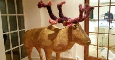life-sized paper mache reindeer