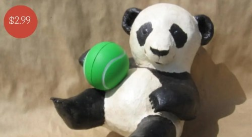 Pattern for a paper mache baby panda.