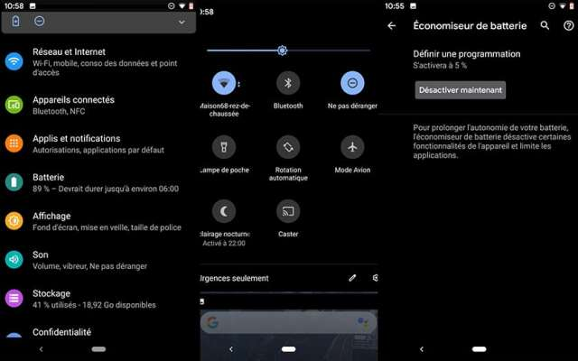 Android Q mode sombre