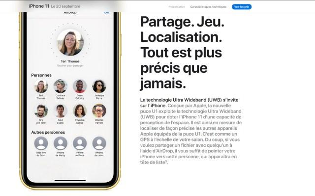 Capture d'écran sur le site de l'iPhone 11