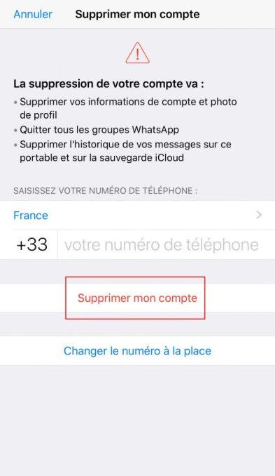 Supprimer compte Whatsapp validation