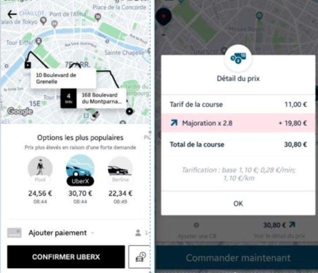 Prix d'une course entre Montparnasse et Bir-Hakeim en VTC ce vendredi matin, avec Uber (à gauche), et Kapten (à droite)./DR