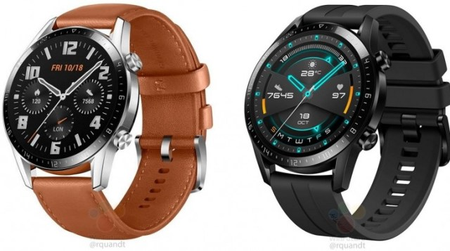 Huawei Watch GT 2 Classic on left and Watch GT 2 Sport on right