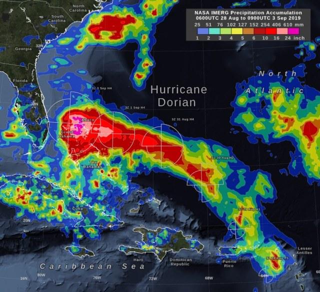 map of hurricane Dorian Tuesday September 3