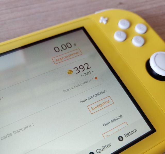 Vérifier nombre points or Nintendo Switch