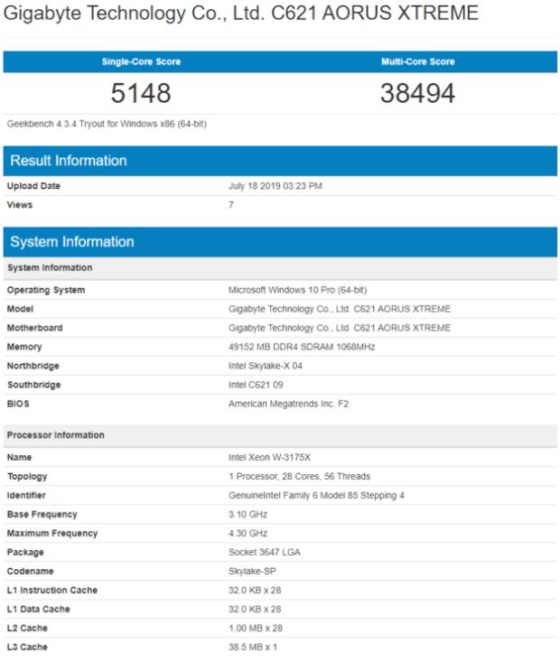 GeekBench - XeonW-3175X