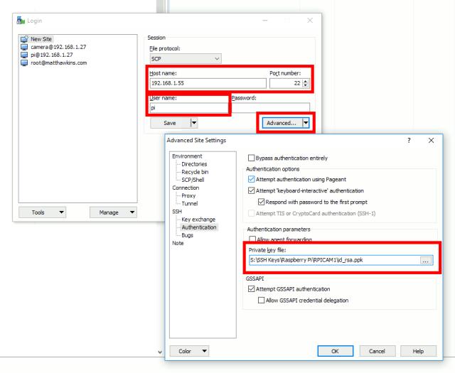 WinSCP Session SSH settings