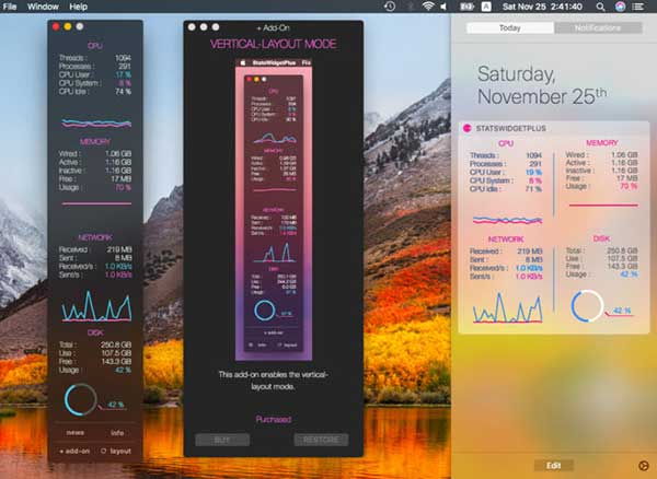 statswidget plus macos mac 1 - StatsWidget Plus Mac - Afficher les Statistiques du Système (gratuit)