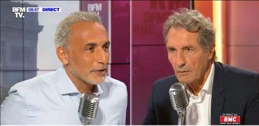 Tariq Ramadan sur le plateau de Jean-Jacques Bourdin (BFM-TV et RMC), le 6 septembre 2019.