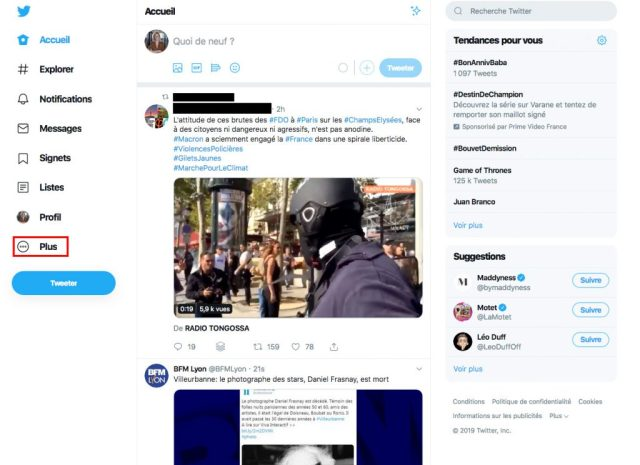 Supprimer compte Twitter menu