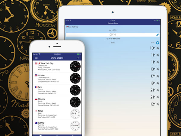 world clock timezones widget iphone ipad ios 02 - World Clock iPhone iPad - Horloge Mondiale en Widget (gratuit)