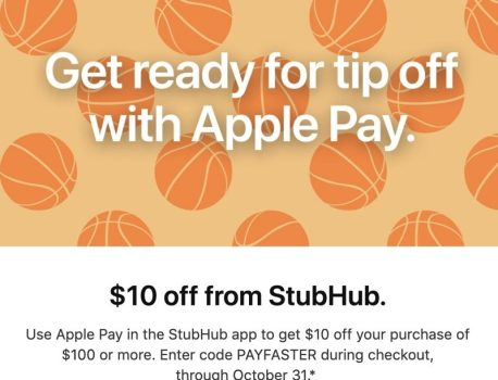 Apple Pay Promo Offers $10 Discount on $100 StubHub Purchase