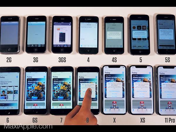 comparatif iphone toutes generation video test 02 - Déballage et Comparatif de 11 Générations d'iPhone (video)