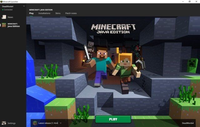 Landing page of the Minecraft Launcher