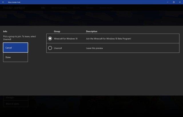 Minecraft Beta Management Screen
