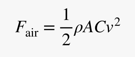 Force of air equals rho times the product of A C and velocity squared all divided by two.