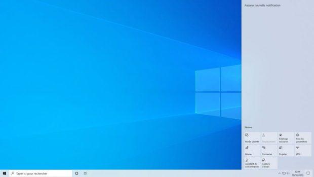 Windows 10 v 1903 et le centre de notifications.
