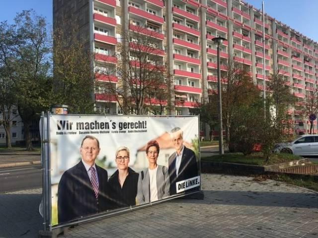 Une affiche du parti Die Linke dans le quartier Moskauer Platz à Erfurt (Allemagne), le 30 octobre 2019.