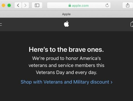 Apple Honors Veterans Day With Website Banner, Activity Challenge on Apple Watch, and More