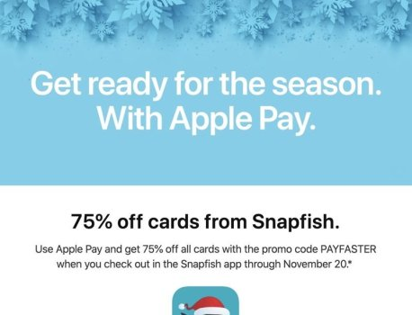 Apple Pay Promo Offers 75% Discount on Cards From Snapfish