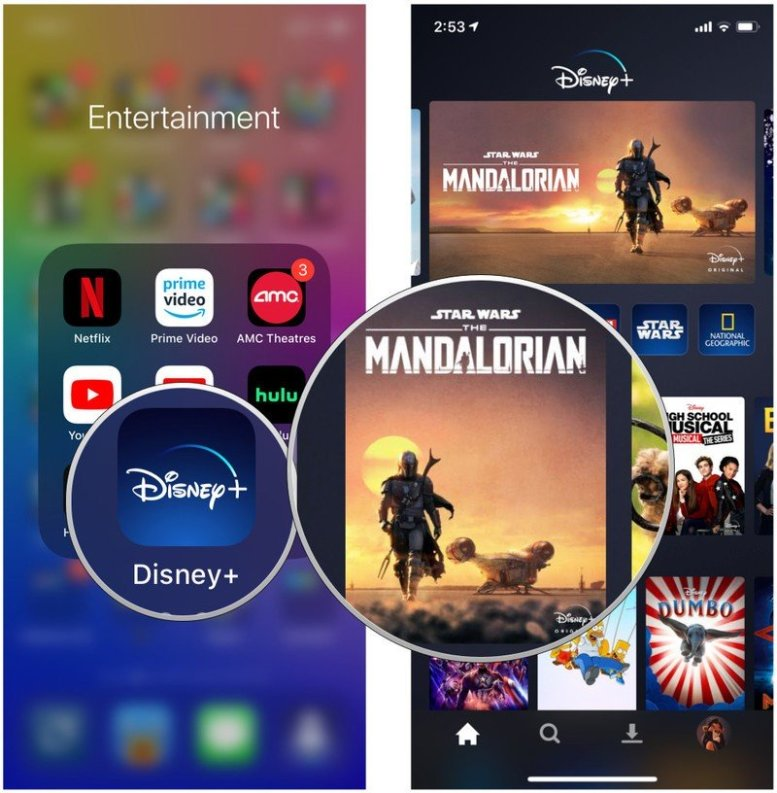 Launch Disney+, find series