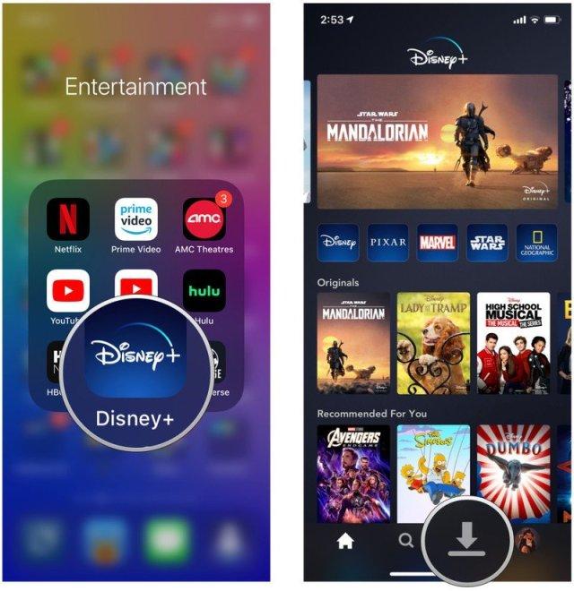 Launch Disney+, tap Downloads