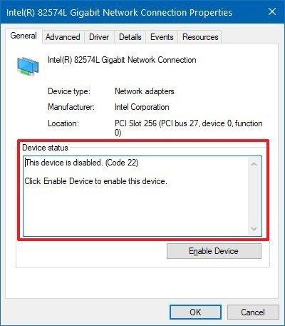 Hardware error code status