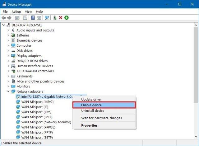 Device Manager enable hardware option