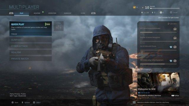 Modern Warfare Multiplayer screen