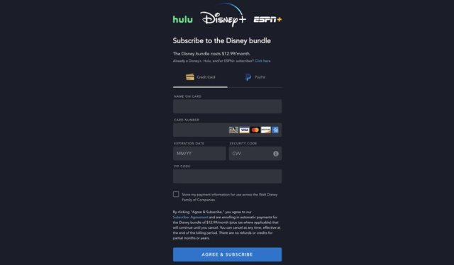 Disney+ bundle sign up page
