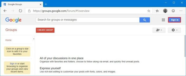 Google Groups sign in
