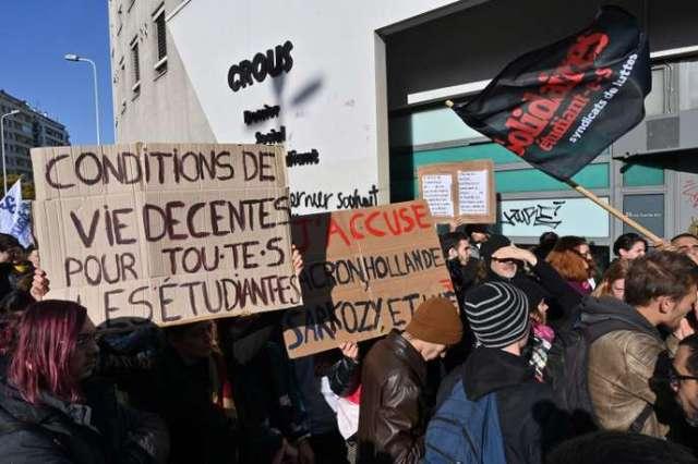 Rassemblement d'étudiants le 12 novembre à Lyon, quatre jours après le drame.
