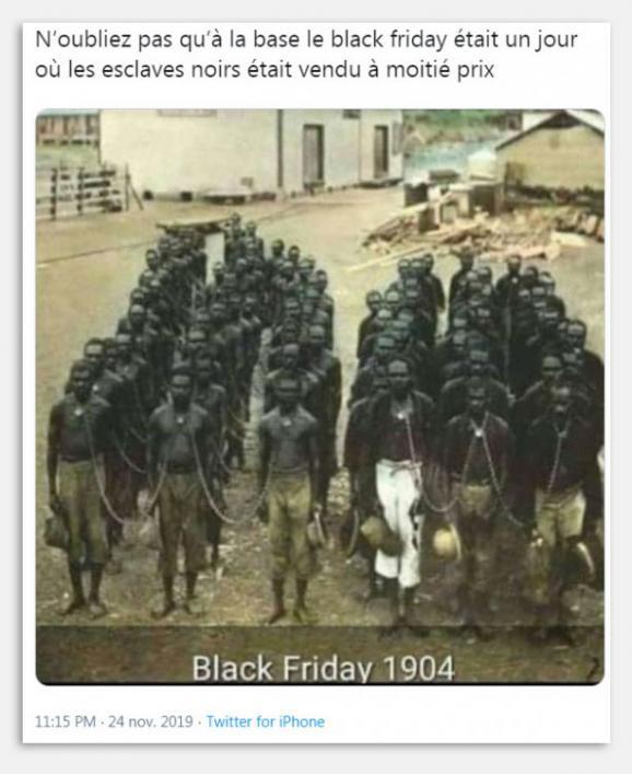 Tweet reliant le Black Friday à la traite négrière.