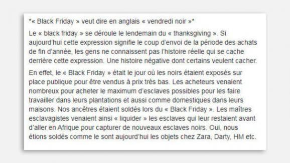 Extrait d\'un post Facebook reliant le Black Frdiay à la traite négrière.