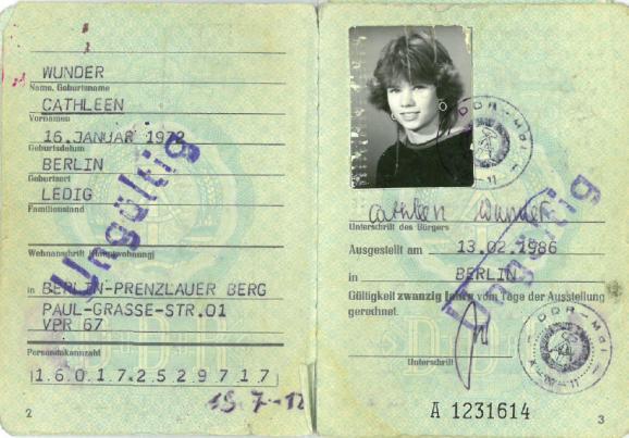 La carte d\'identité allemande de Cathleen Wunder.