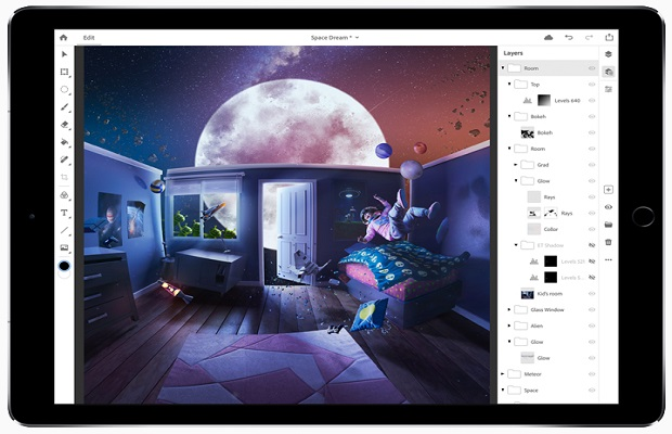 Photoshop finalement disponible sur l'iPad Pro