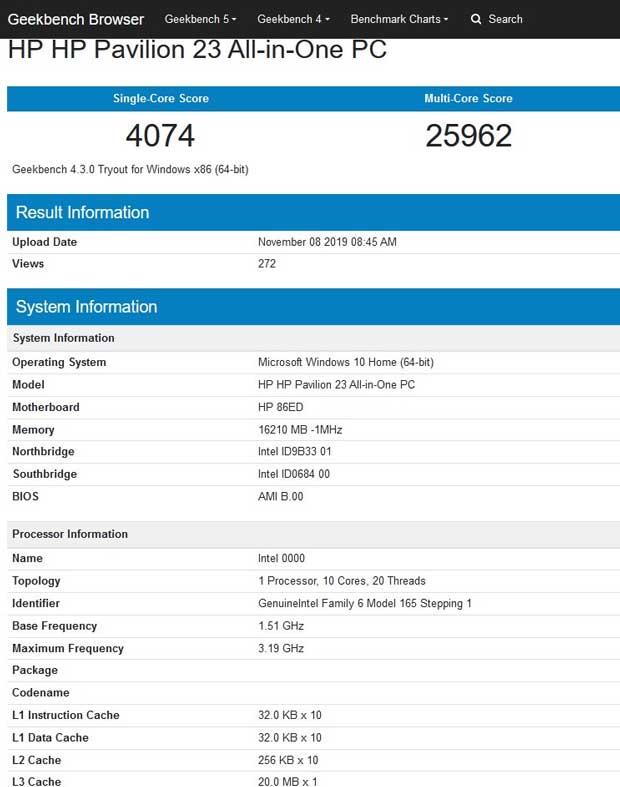 GeekBench 4.0 - Processeurs Intel Comet Lake-S
