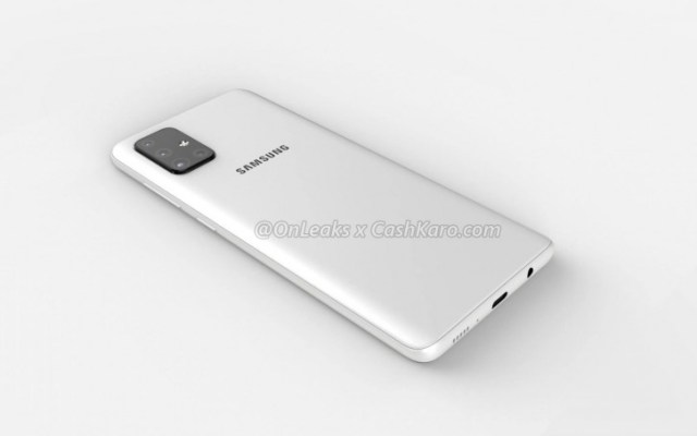 Galaxy A71 appears in first set of renders, complete with L-shaped quad camera and Infinity-O AMOLED display
