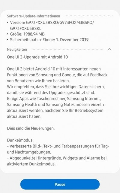 Samsung Galaxy S10 series stable Android 10 is now available for download