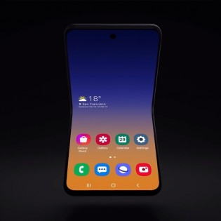 Concept of Samsung's foldable smartphone with clamshell design