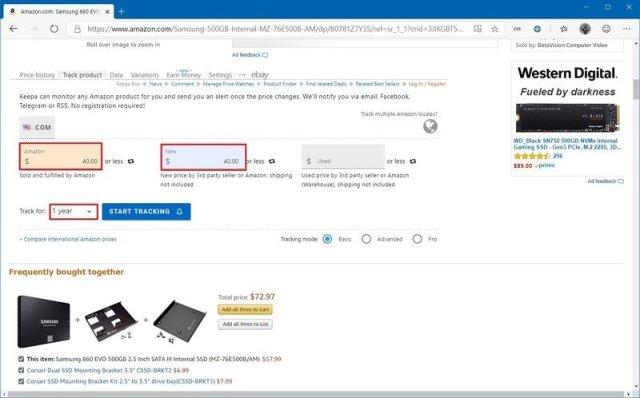 Keepa Amazon tracker settings