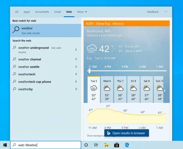 Windows 10 Build 19018 (20H1) – Module de recherche