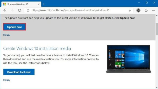 Update Assistant download version 1909