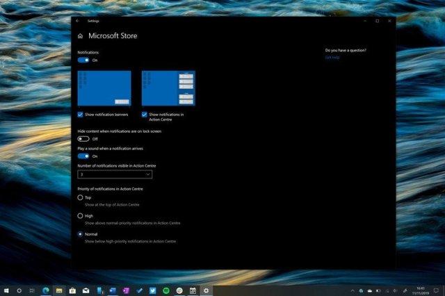 Windows 10 Notification Settings