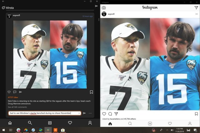 Winsta vs Instagram on Windows 10